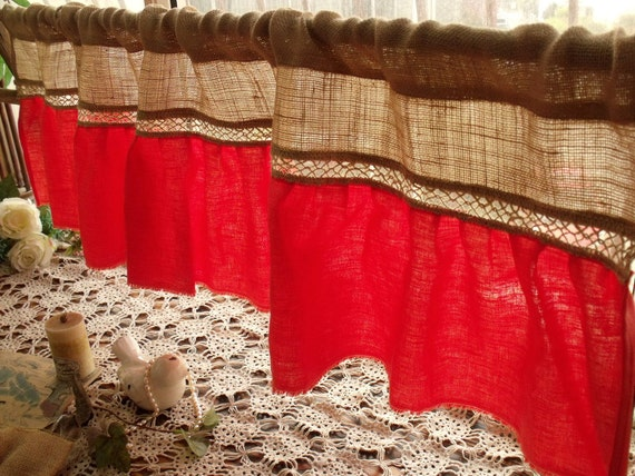 coral orange ruffle burlap lace valance window by. Black Bedroom Furniture Sets. Home Design Ideas