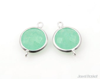 2pcs - Light Mint Gemstone and Matte Rhodium Frame Round Connector / light mint / mint / gemstone / rhodium plated / 11mm x 16mm/ SLMMS002-C