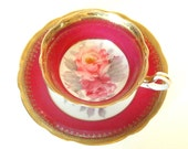 Vintage Teacup Occupied Japan Teacup and Saucer Pink Fuchsia and Gold China with Roses Hand Painted Oakwood China Circa 1950's Mid Century