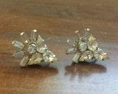 Vintage clear rhinestone signed SHERMAN twist back earrings/costume jewelry