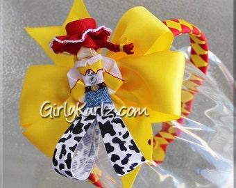 Jessie Headband, Toy Story Ribbon Sculpture Hair Clip, Cowgirl Hair Clip, Jessie Hair Bow, Toy Story Headband