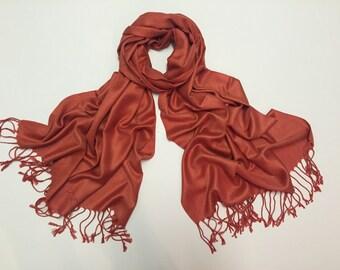 Rust pashmina scarf, rust pashmina shawl, rust fashion scarf, pashmina scarf, pashmina shawl, scarf, shawl
