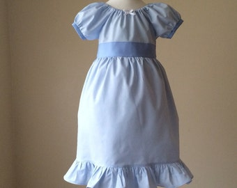 Wendy Darling Peter Pan Inspired Ball Gown Cotton Everyday Princess Dress- sizes: 3m, 6m, 12m, 18m, 2, 3,4, 5, 6 , 7, and 8.