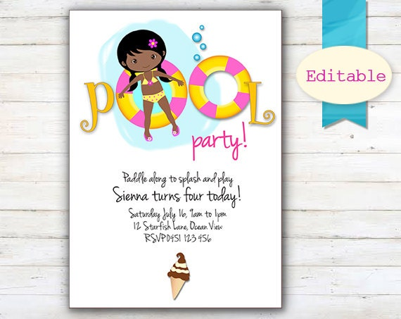 EDITABLE Pool Party Invitation African American Girl – African American Birthday Invitations