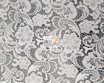 """Rose Floral Paisley Guipure Venice Lace Fabric - WHITE - 50"""" Width Sold By The Yard"""