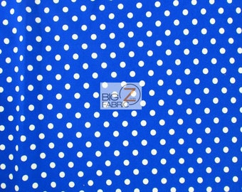 "Small Polka Dot Spandex Fabric - WHITE/ROYAL BLUE - Sold By The Yard 58""/60"" Width"