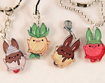 4 PIECE SET: Cute Food Bunny Acrylic Charms - for cell phones, zipper pulls & key chains