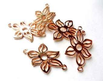 5 Rose Gold Plated Flower Connectors - 4-FL-10