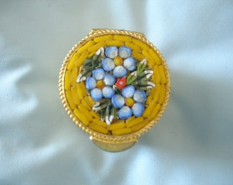Vintage Early Mid Century Italian Micro Mosaic Pill Box  Trinket Box in Yellow