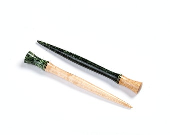 Hair stick pair - Birdseye Maple - Green Box Elder Burl