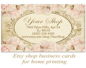 Vintage shabby Business cards for Etsy shop on Digital collage sheet