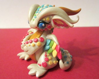 Pastel Spotted Dragon Sculpture