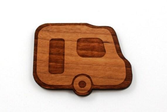 Laser Cut Supplies-1 Piece.Retro Caravan Charm - Cherry Wood Laser Cut Caravan - Little Laser Lab Sustainable Wood Products