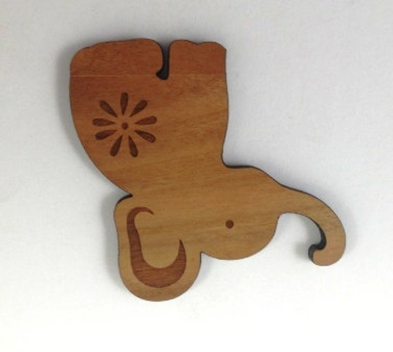 Laser Cut Supplies- 1 Piece.Elephant Charms - Cherry Wood Laser Cut Elephant -Brooch Supplies- Little Laser Lab Sustainable Wood Products