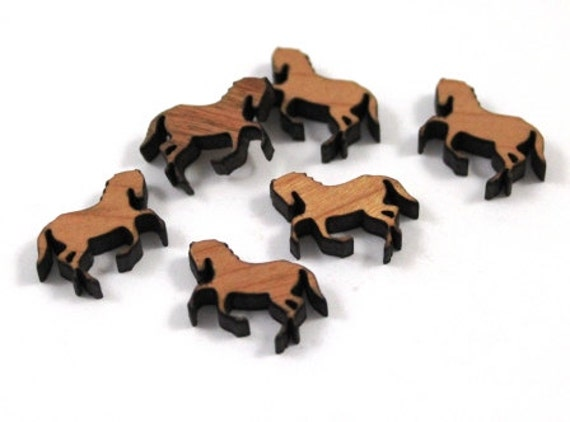 Laser Cut Supplies-8 Pieces.Horse Charms -Laser Cut Wood Horse -Earring Supplies- Little Laser Lab Sustainable Wood Products