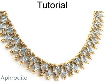 Beading Tutorial Pattern Necklace - Netting Stitch - Simple Bead Patterns - Aphrodite #11238