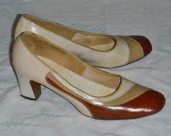 Vintage 70's multi tone brown ladies heels