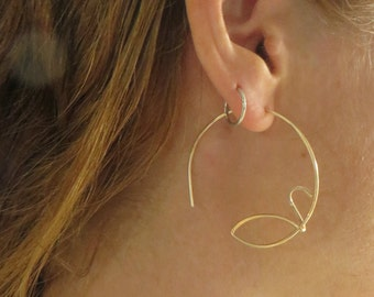 Gold Hoop Earrings,  Large Gold Hoops, Wire Wrapped, Open Hoop Earrings
