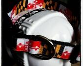 "MD Pride: Maryland Flag Inspired Dog Collar or Leash with Black Nylon Base 1""W (Multiple Hardware Options)"
