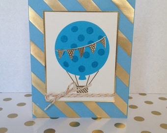 Birthday Card. Stampin' Up! Blue. Balloon. Gold stripes.