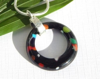 ON SALE - Black Glass Donut Pendant - Fused Glass Jewelry - Black and Multicolor Glass Necklace