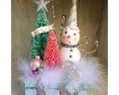 "In The Meadow"" Glitter Snowman and Bottle Brush Trees in Wood Crate Christmas Decoration"