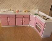 Dolls house kitchen Cabinets set  miniature dollhouse kitchen 1 12th scale dollhouse cabinets
