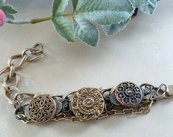 Antique Brass Bracelet , Brass Button Bracelet with Twinkle Buttons ,  Recycled Vintage Button Jewelry by VintageRedo