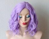 Pastel Lavender wig. Short  beach wavy hairstyle wig. Lavender short curly hairstyle long side bangs wig. Light purple hair wig.