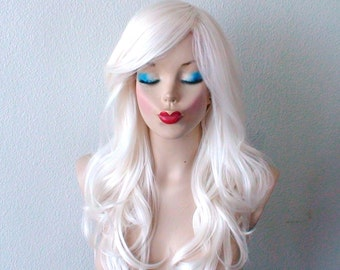 White wig. Snow white wig. Long curly hair long side bangs wig. Durable heat friendly synthetic hair wig for daily use or Cosplay.