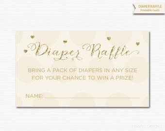 Printable Diaper Raffle Tickets Gold Cream Baby Shower Games Instant Download Baby Sprinkle Games Diaper Raffle Cards Neutral