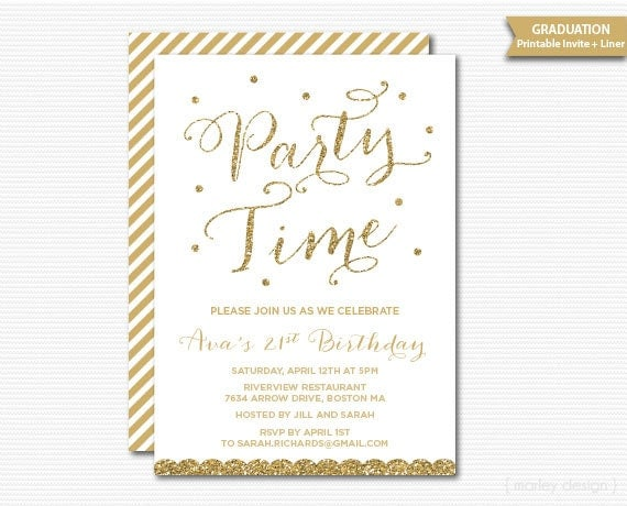 White Gold Birthday Invitation Milestone Birthday Printable – Golden Birthday Invitation