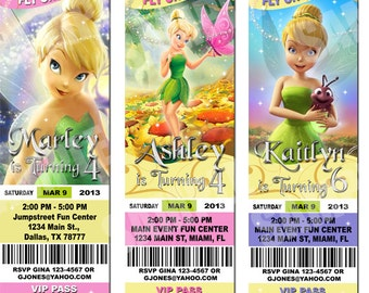 Tinkerbell Ticket Invitations - Printable Birthday Party Invitation