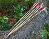 6 Natural Wooden Hunting Arrows with Razor Blades