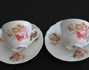 Vintage Pair Bavaria Germany Porcelain Teacups Pink Roses
