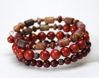 Red Jasper Layered Gemstone Memory Wire Bracelet - Handmade Natural Stone Bracelet - Brick Red Bracelet - Fall Colors, Autumn Jewelry