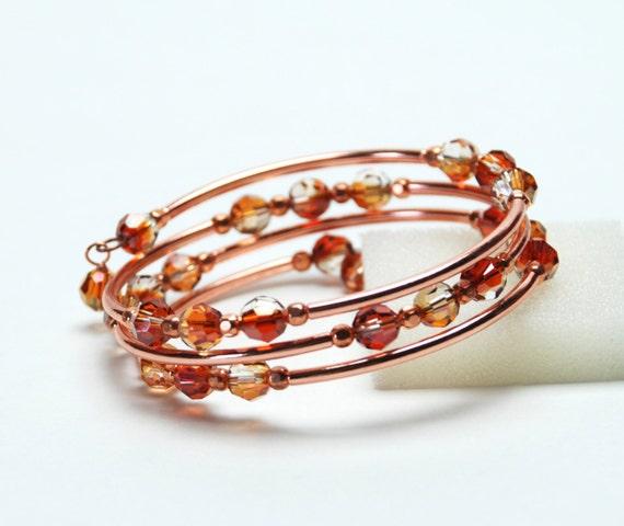 Amber Crystal Memory Wire Bracelet - Swarovski Copper Crystal Bracelet with Bright Copper Accents - Red Orange Bracelet - Handamde Jewelry