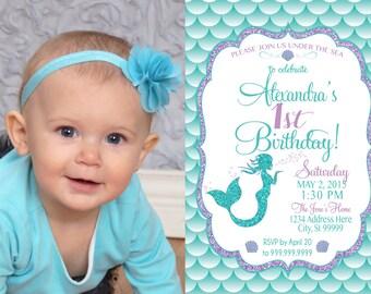 ON SALE Mermaid Invitation Birthday Mermaid Party Invite Under the sea mermaid glitter picture
