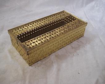 Brass tissue box, basket weave design, mid century modern