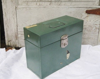Textured green metal filing cabinet, Made in USA, vintage filing cabinet, office storage and organization