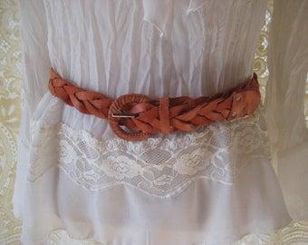 Orange to light rust woven leather belt, vintage 80s waist belt, medium