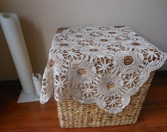 Hand Crocheted Cotton Beige Lace Tablecloth