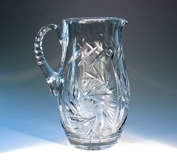 Cut Crystal Pitcher Vase Heavy Leaded Glass With Pinwheels