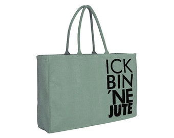 "Jute bag ""ick bin ne jute"" / / color: mint / black"