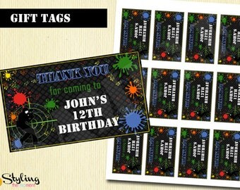 Paintball Party Favor Gift Tags