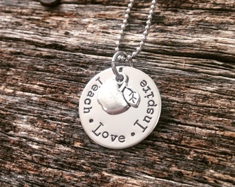 Hand Stamped necklace Teacher Necklace Stamped Necklace Teach Love Inspire