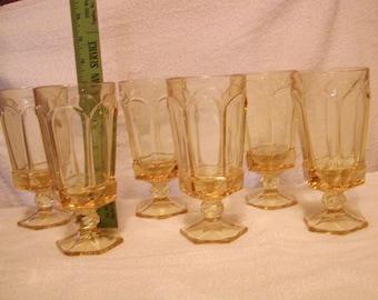 6 Fostoria glasses Virginia pattern Sun Gold or Yellow
