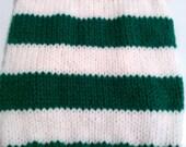 X-Small Green & White Striped Dog Sweater
