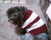 Burgundy and White striped Dog sweater. (S-M)