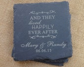 Custom Slate Coasters Set of 4 Wedding Gifts Under 20 Personalized And They Lived Happily Ever After